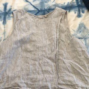 Eileen Fisher Linen striped sleeveless top sz XL
